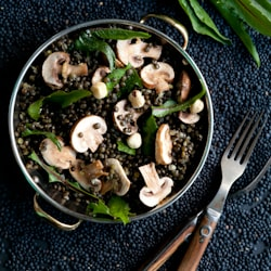 Black Lentil and Mushroom Salad
