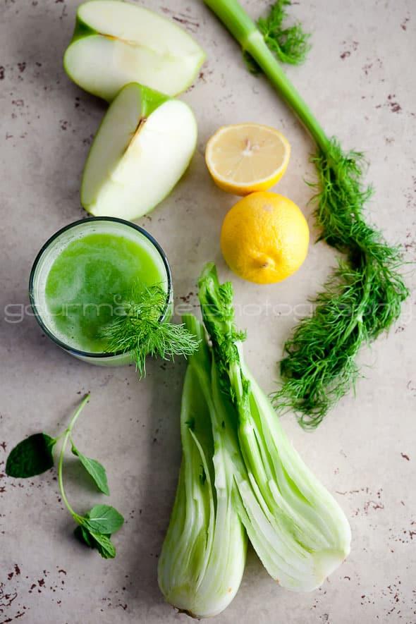 Fennel, Apple, Celery, Lemons and Green Juice
