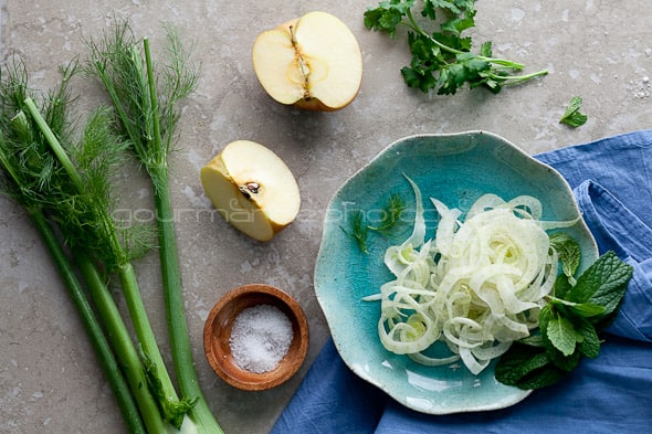 Fennel, Apple, Celery Salad Ingredients Gourmande in the Kitchen