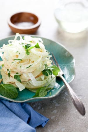 Fennel, Apple, Celery Salad on Plate Gourmande in the Kitchen