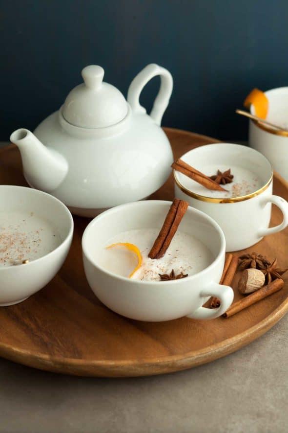 Vegan Warm Spiced Cashew Coconut Milk in Mugs on Tray
