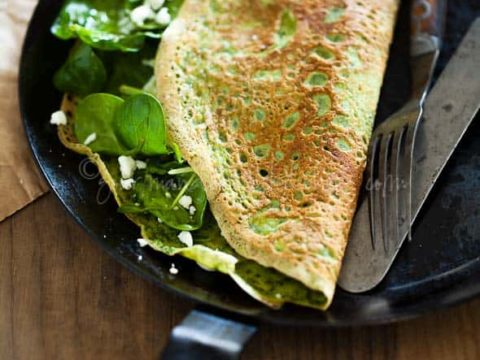 Herbed Omelette with Salad and Goat Cheese Gourmande in the Kitchen