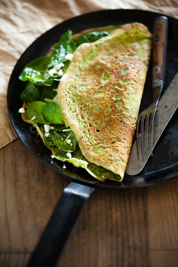 Herbed Omelette 4 Thin Green Spinach and Herb Omelettes | Flourless Crêpes (Gluten Free and Grain Free)