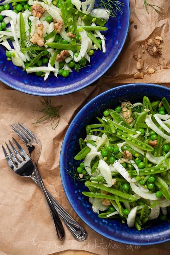 Sugar Snap Pea, Spring Peas and Fennel Salad Top View