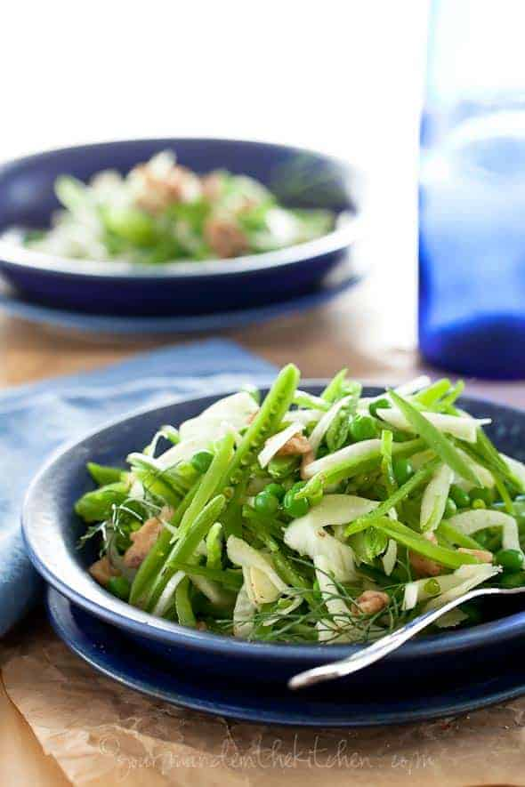 Sugar Snap Pea, Spring Pea and Fennel Salad in Blue Bowl