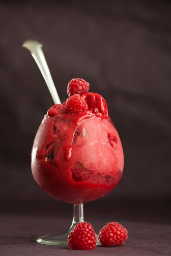 This float is all grown up. Raspberry lychee sorbet is served in cocktail glasses with champagne poured over for a festive dessert that doubles a cocktail.