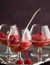 Raspberry Lychee Sorbet Champagne Floats