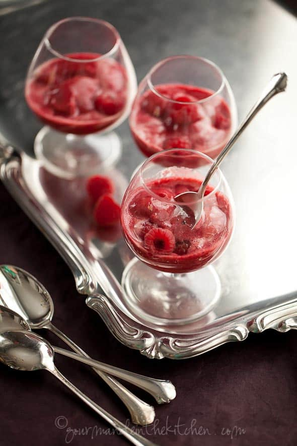 Raspberry Lychee Sorbet  2 3 Raspberry Lychee Sorbet Served with Champagne (Champagne Floats)
