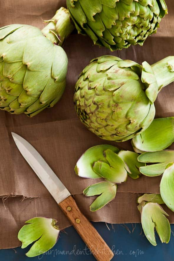 Preparing Artichokes Gourmande in the Kitchen