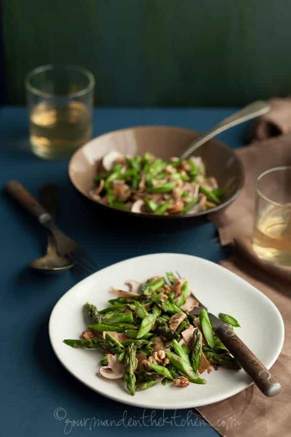 Raw Asparagus and Mushroom Salad with Walnuts and Miso
