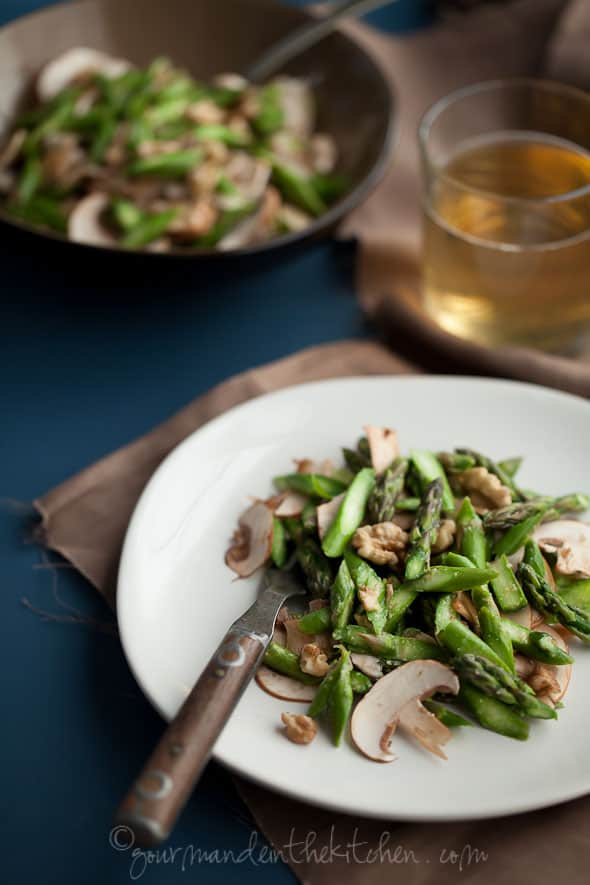 Asparagus and Mushroom Miso Walnut Salad, Gourmande in the Kitchen