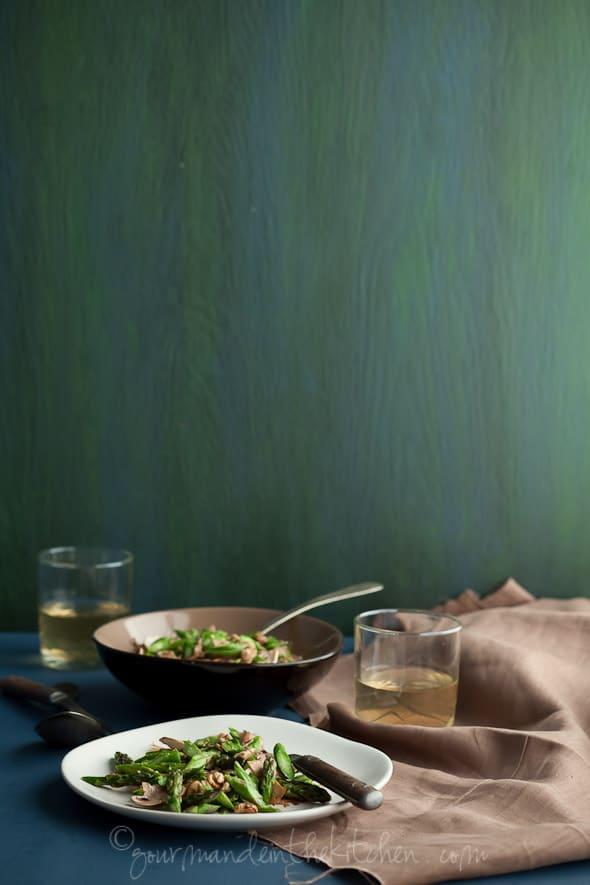 Asparagus and Mushroom Miso Walnut Salad, Gourmande in the Kitchen