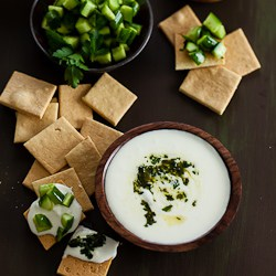 Feta Dip with Cucumbers and Almond Crackers-116-2