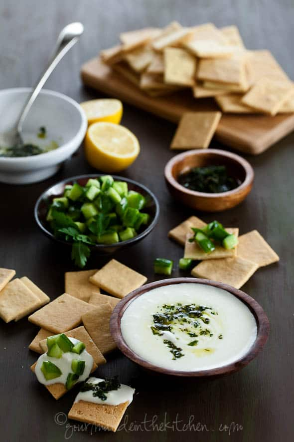 Feta Dip with Cucumbers and Almond Crackers 120 3 Creamy Whipped Feta Dip with Mint Parsley Pesto and Cucumbers