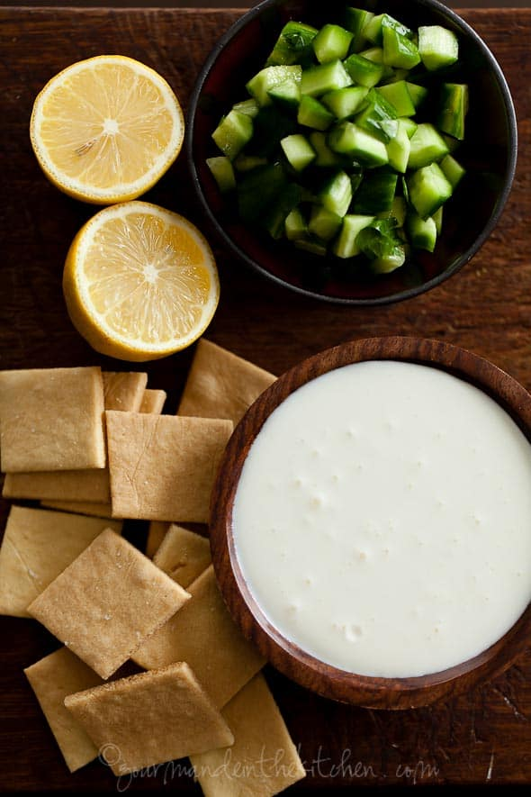Feta Dip with Cucumbers and Lemons Gourmande in the Kitchen