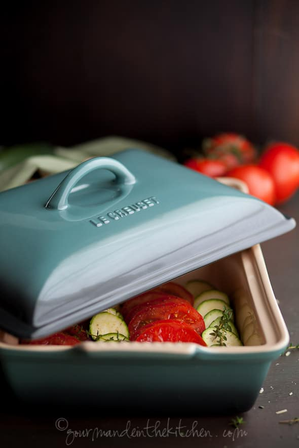 Le Creuset Heritage Stoneware Rectangular Covered Casserole , Gourmande in the Kitchen, Sylvie Shirazi, Food Photography