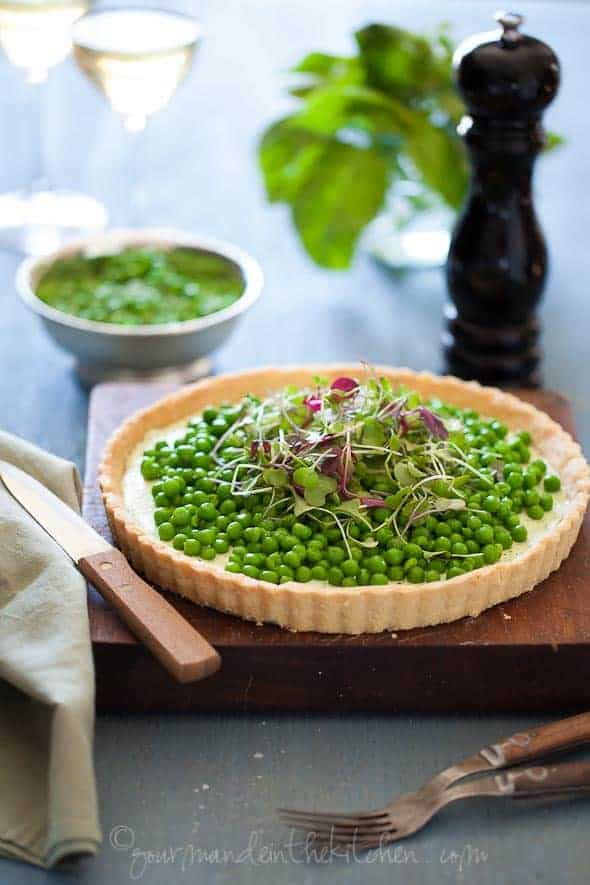 Pea and Herbed Goat Cheese Tart, Sylvie Shirazi Photography, Gourmande in the Kitchen, food photography