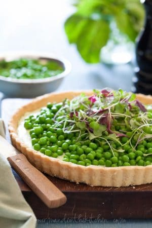 Pea and Herbed Goat Cheese Tart, Sylvie Shirazi, food photography, Gourmande in the Kitchen
