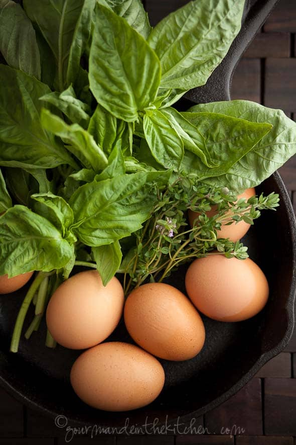 Eggs with basil and thyme, Sylvie Shirazi Photography, Gourmande in the Kitchen, food photography
