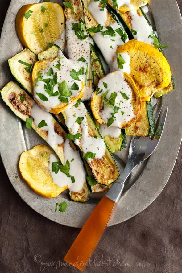 Grilled Vegetables with Yogurt Sauce, Gourmande in the Kitchen, Sylvie Shirazi Photography, food photography