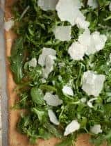 Crisp Rosemary Parmesan Flatbread with Arugula and Almonds | Gluten Free and Grain Free