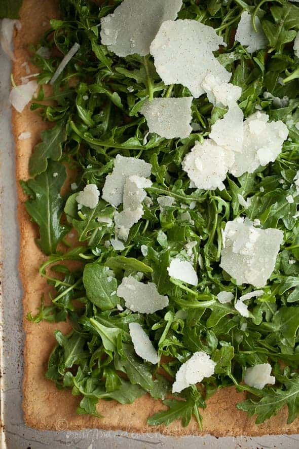 Rosemary FLatbread with Arugula and Parmesan Gourmande in the Kitchen Crisp Rosemary Parmesan Flatbread with Arugula and Almonds | Gluten Free and Grain Free