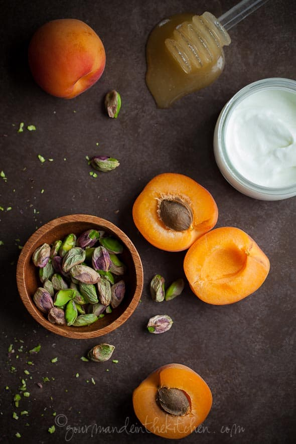 Apricots with Yogurt and Pistachios, Sylvie Shirazi Photography, Gourmande in the Kitchen, food photography