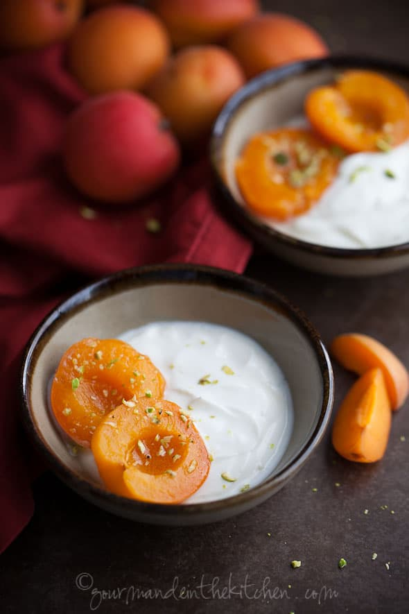 Wine Poached Apricots with Yogurt and Pistachios, Sylvie Shirazi Photography, Gourmande in the Kitchen, food photography