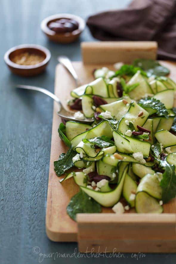 Zucchini Ribbons with Goat Cheese, Mint, Pine Nuts and Olives on Serving Platter