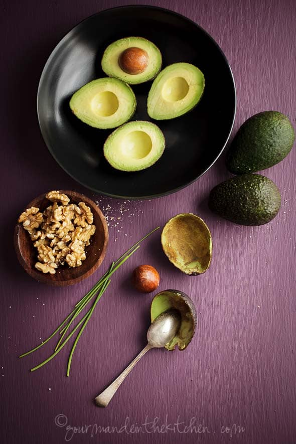 Avocados, Walnuts, Chives Gourmande in the Kitchen, Sylvie Shirazi Photography, food photography