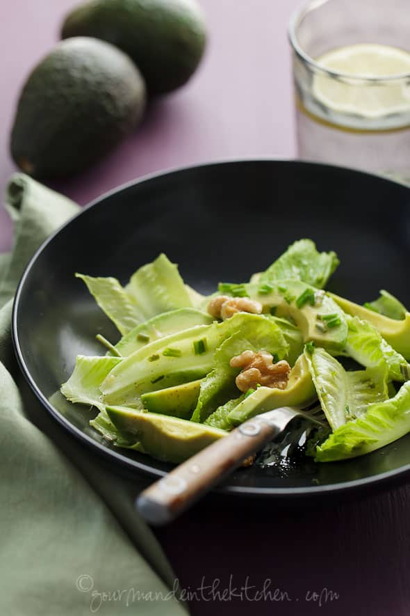 Avocado and Romaine Salad with Walnuts, Gourmande in the Kitchen, Sylvie Shirazi Photography, food photography