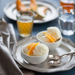 Goat's Milk Frozen Yogurt with White Tea Infused Cantaloupe Recipe