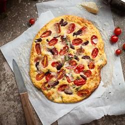 Cherry Tomato, Olive and Thyme Focaccia Bread Recipe (Gluten Free and Grain Free)