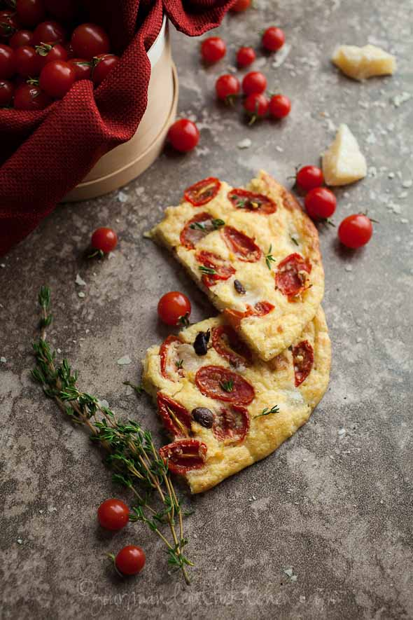Tomato Thyme Foccacia Bread Slices Grain Free and Gluten Free Cherry Tomato, Olive and Thyme Focaccia Bread (Gluten Free and Grain Free)