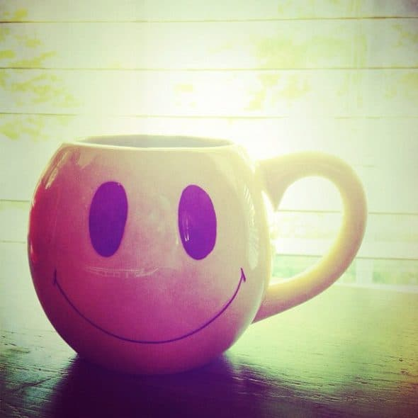 smiley face coffee cup