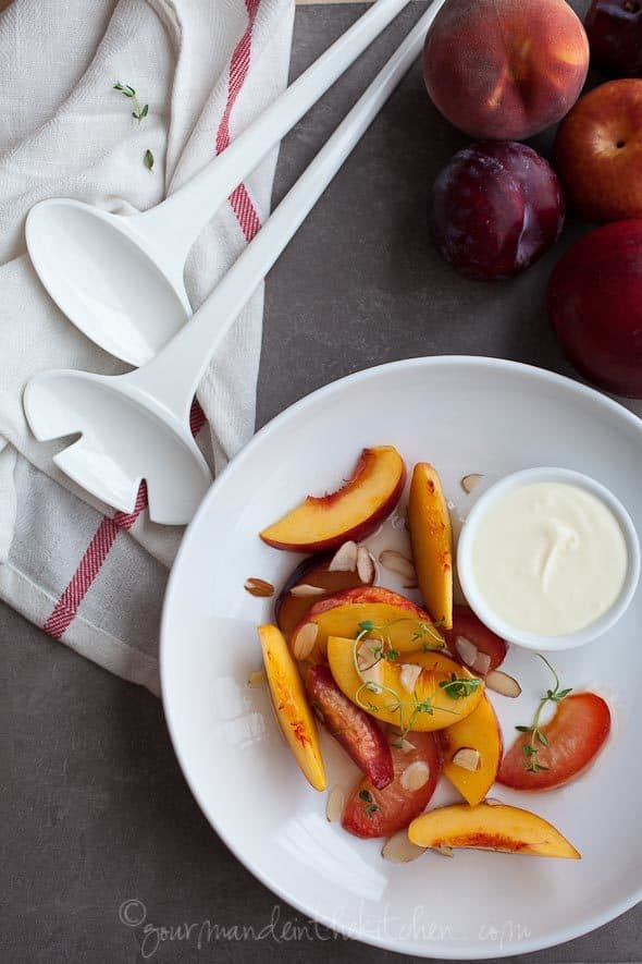 Stone Fruit in Lemon Thyme Syrup on Plate