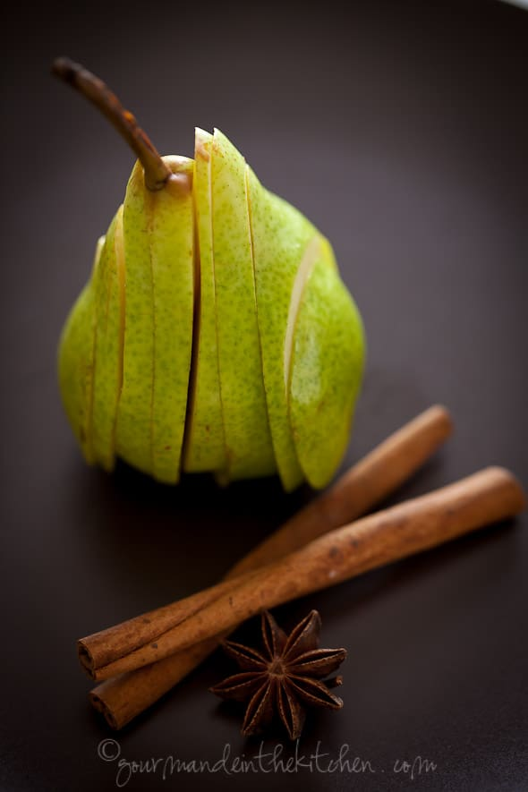 sliced pear and spices, food photography, los angeles food photographer