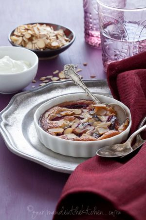 plum frangipane gratin recipe, sylvie shirazi, food photography, los angeles food photographer