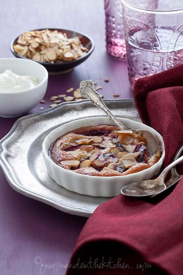 plum frangipane gratin recipe, sylvie shirazi, food photography, los angeles food photographer
