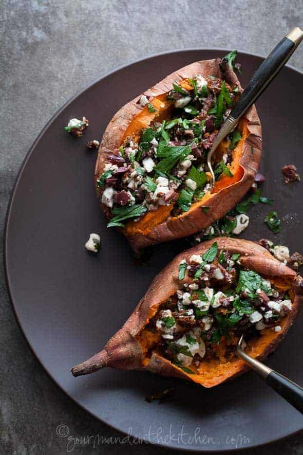 Baked Sweet Potatoes Stuffed With Feta Olives And Sundried Tomatoes Gourmande In The Kitchen