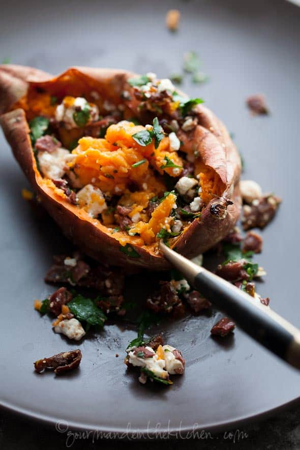 Baked Stuffed Sweet Potato via gourmandeinthekitchen.com  Baked Sweet Potatoes Stuffed with Feta, Olives and Sundried Tomatoes