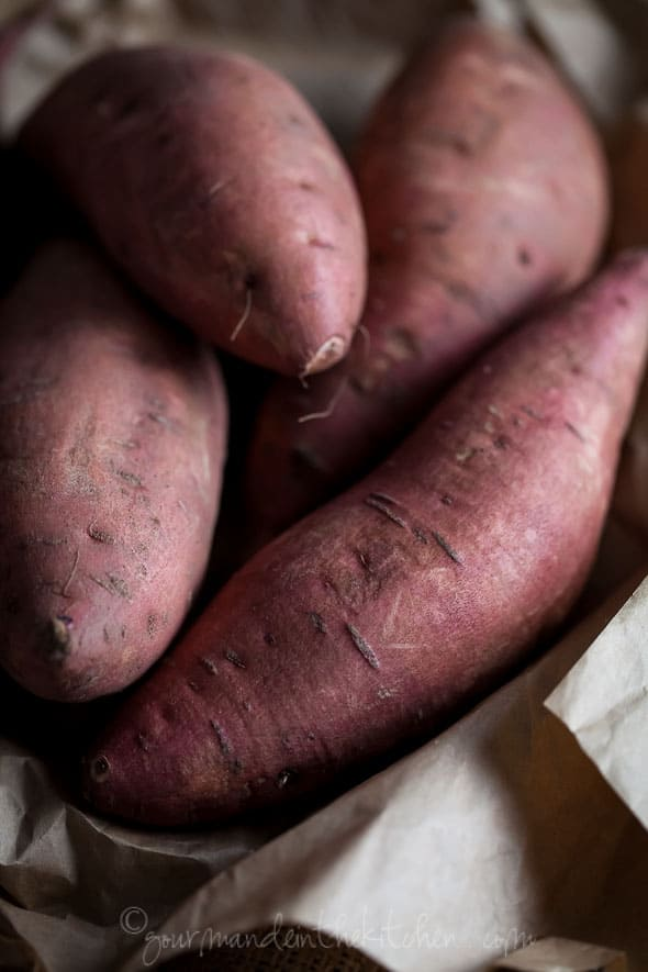 sweet potatoes on parchment