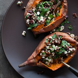 Baked Sweet Potato with Feta 191 Baked Sweet Potatoes Stuffed with Feta, Olives and Sundried Tomatoes