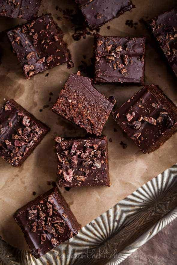 Raw Cocoa Fudge Gourmande in the Kitchen Raw Double Layer Chocolate Fudge with Cacao Nibs