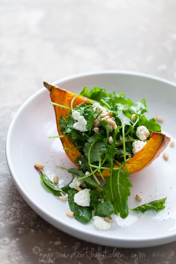 roasted winter squash salad with goat chees and pine nuts, gourmande in the kitchen, los angeles food photographer, food photography, recipe