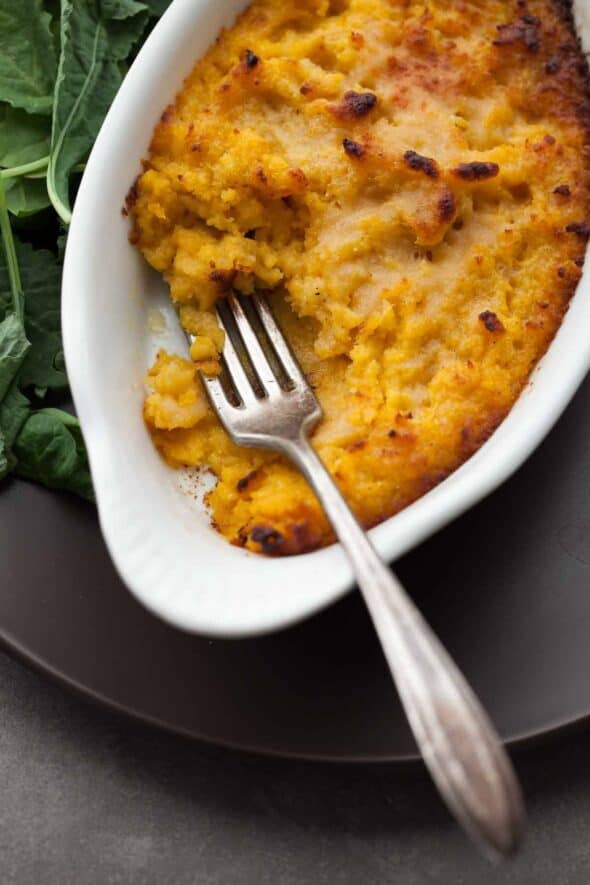 Roasted butternut squash and sage are paired together and topped with Parmesan in this creamy and comforting side dish.