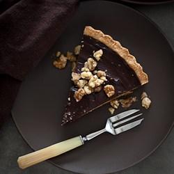 Chocolate Covered Date Caramel Walnut Tart-136