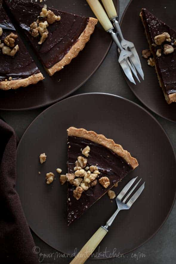 Chocolate Date Caramel Walnut Tart from Gourmande in the Kitchen Chocolate Date Caramel Walnut Tart (Gluten Free, Grain Free, Vegan)