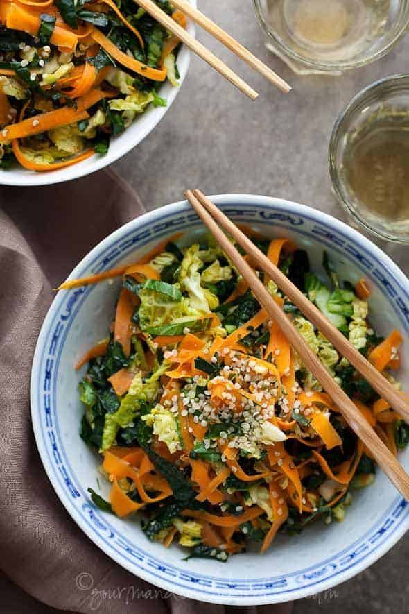 Kale, Cabbage and Carrot Chopped Salad with Maple Sesame Vinaigrette in Large Bowl