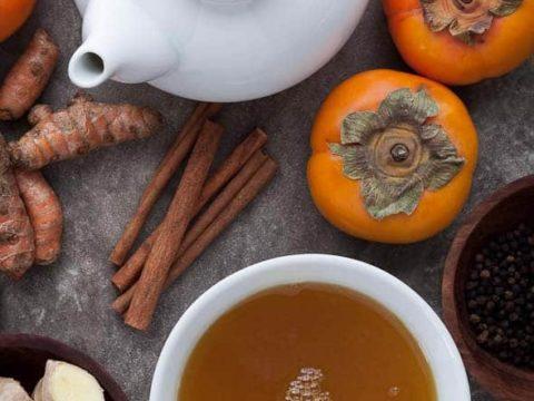 Spiced Persimmon, Ginger, Cinnamon, Turmeric Tea. tea, infusion, food photography, food photographer, los angeles food photographer